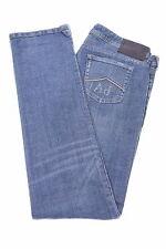 ARMANI Mens Jeans W35 L31 Navy Blue Cotton Straight
