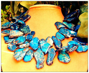 Blue Jasper Chunky Necklace Gem Chunky Statement Jewelry Made USA Free form Art