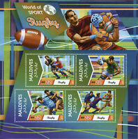 Maldives Sports Stamps 2015 MNH Rugby World of Sport 4v M/S