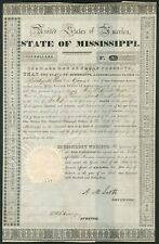 More details for u.s.a: state of mississippi, 6% 'planters' bank' loan, 1833, $1000, series f,...