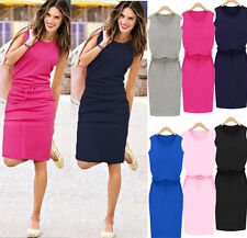 UK New Womens Holiday Sleeveless Sundress Ladies Summer Beach Casual Party Dress