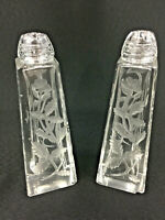 Vintage Floral Cut Lead Glass Crystal Salt and Pepper Shaker Set Glass Screw Cap