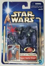 STAR WARS ATTACK OF THE CLONES SUPER BATTLE DROID WITH BACKGROUND INSERT