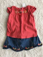 GYMBOREE Tank Top & Denim Skirt Outfit Toddler Girls Size 2T Embroidered Flowers