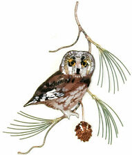 Saw Whet Owl on Pine Metal Bird Wall Art Sculpture #W823 by Bovano of Cheshire