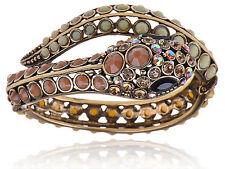 South West Topaz Bead Crystal Rhinestune Serpent Snake Wrap Bracelet Bangle Cuff