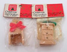 2 1976 Sealed Brite Star Wooden Dollhouse Mini Dresser & Chair Xmas Ornaments
