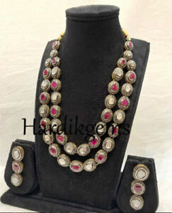 Fine Victorian Natural Diamond Polki Ruby 925 Silver Wedding Necklace Earring