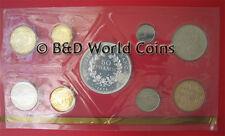 1976 FRANCE (9) COINS SPECIMEN FDC BU SET (1) SILVER COIN BOX+COA PARIS MINT