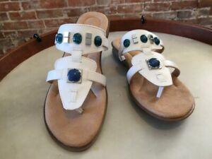 Naturalizer White Embellished Jamelia Slip on Thong Sandal 7.5 W New