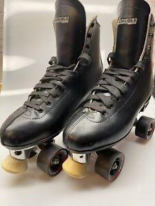 Chicago Black Roller Skates White Toe Stops Mens Size 10 Pro Star Wheels