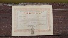 RARE MEXICO 1916 TORREON, S.A. OIL COMPANY PROVISIONAL SHARE CERTIFICATE No.351