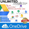 Lifetime Unlimited Google Drive|GDrive + 5TB OneDrive | Custom User | *****.com