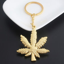 New Fashion Maple Leaf Pendant Keychain Hip Hop Weed Pendant Key Ring for Men