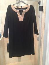 Women's Tunic Tan Black TALBOTS Long V Neck Tea Dress Size 10