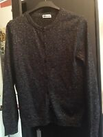 Sparkly Black Silver Cardigan Top long sleeve Size Small (UK 8 / 10)