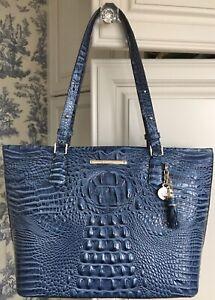 BRAHMIN Medium Asher Tote Bluebonnet Melbourne Leather Shoulder Bag Cobalt Blue