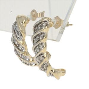 Yellow Gold Diamond J-Hook Twist Earrings - 14k Round Brilliant 1.00ctw Pierced
