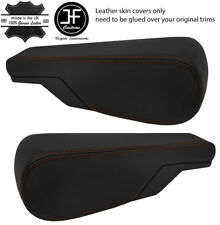 BROWN STITCH 2X SEAT ARMREST REAL LEATHER COVERS FITS VW TYPE 3 T3 MULTIVAN