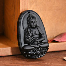 Black Natural Obsidian Carved Amitabha Buddha Amulet Necklace Pendant Xmas Gift