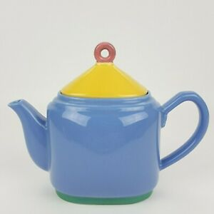 1980's Lindt-Stymeist Colorways Oval Teapot With Yellow & Pink Lid Made in Japan