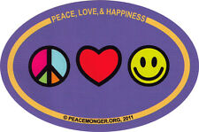 Peace Love & Happiness - Bumper Sticker / Decal