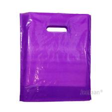 "100 Purple Plastic Carrier Bags 15""x18""+3"" Gift Party Shop Carry Patch Handle"
