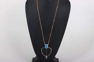 FASHION GOLDTONE BLUE CRYSTALS +1.50 READING GLASSES ON CHAIN NECKLACE 0288B
