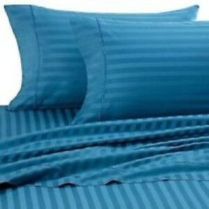 Turquoise Striped Queen Size Sheet Set 1000 Thread Count 100% Egyptian Cotton