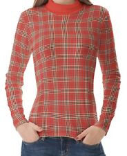 Red Plaid Women High Neck Turtleneck Tops Pullover Shirts