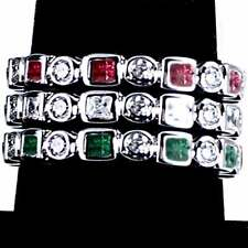 3-RING COMBO #4_GEOMETRIC CZ ETERNITY BAND RINGS_SIZE-4__925 STERLING SILVER