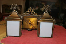 Vintage Double Light Wall Fixture-American Eagle Tops-White Glass Panels-Brass