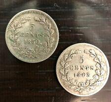 PAYS BAS - WILLIAM II - LOT DE DEUX 5 CENTS 1850 ET 1863