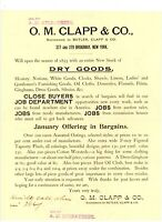 1893 Advertisement O M Clapp & Co Broadway NY New York Dry Goods A H Kilpatrick
