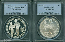New listing 1995-P 1995-D Paralympic Silver Dollar Pcgs Ms69 Pr69 Pf69 2-Coins Set !