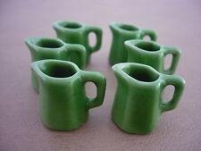 6 Green 6 Sided Ceramic Water Jug Dollhouse Miniatures Kitchenware
