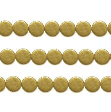 Wood Coin Beads Gold 15mm 16 Inch Strand