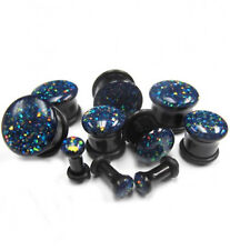 "PAIR-Glittered Black Acrylic Single Flare Ear Plugs 14mm/9/16"" Gauge Body Jewelr"