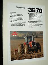 Prospectus MASSEY FERGUSSON 3670 Tracteur tractor traktor brochure prospekt