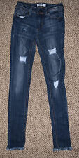Almost Famous Distressed Skinny Mid Rise Roll Cuff Jeans Size 1