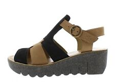 Fly London NEW Yuni black sand tan genuine leather wedge heel sandals size 3-9