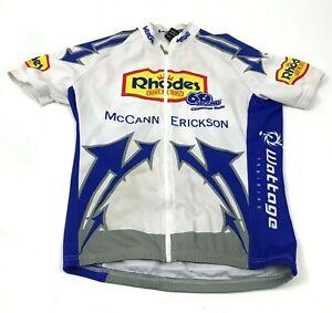 Rhodes Cinnamon Rolls Cycling Jersey Size Medium White Full Zip Shirt Raglan Tee