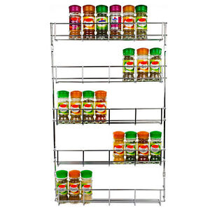 5 Tier Spice Herb Rack Wall Mounted or for Cupboard Door   Large Andrew James