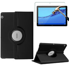 """Huawei Mediapad M5 Lite 10 (10.1"""") PU Leather Tablet Case Cover & Tempered Glass"""