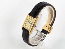 Must de Cartier Tank cuarzo 925er plata dorado reloj pulsera estuche ref 1613