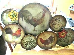 """Decorative 7 Plate Tin Rooster Wall Hanging 28"""" X 16"""" wide"""