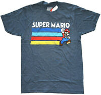 Nintendo Super Mario Stripes Navy Heather Men's Graphic T-Shirt New