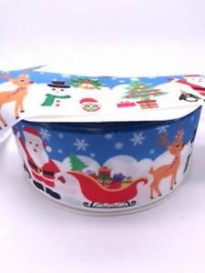"""Christmas Santa Sledsge 3"""" 1.5"""" 1"""" 75mm 38mm 25mm Grosgrain Ribbon"""