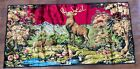 """Vintage BUCK STAG in The Forest Velvet Tapestry 39"""" x 20"""" Man Cave, Bar."""