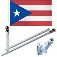 Puerto Rico 3 x 5 FT Flag Set w 6-Ft Spinning Flag Pole + Bracket (Tangle Free)